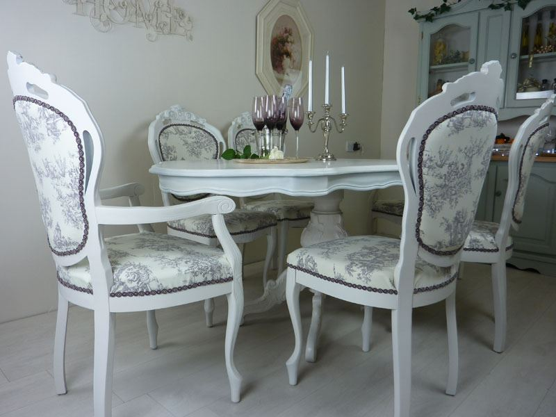 French Style Table With 6 Upholstered ChairsPainted Vintage