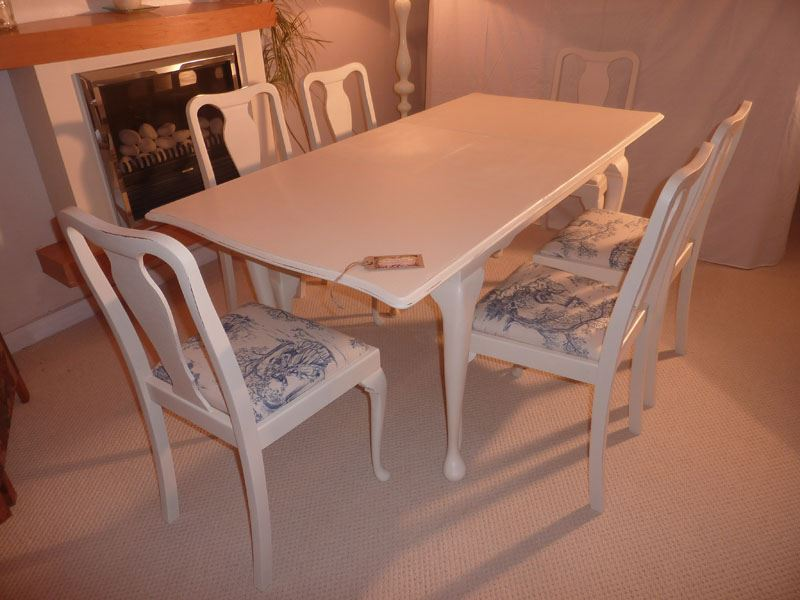 Shabby Chic Breakfast Table: Shabby Chic Extendable Dining Table With 6 Chairs-Painted