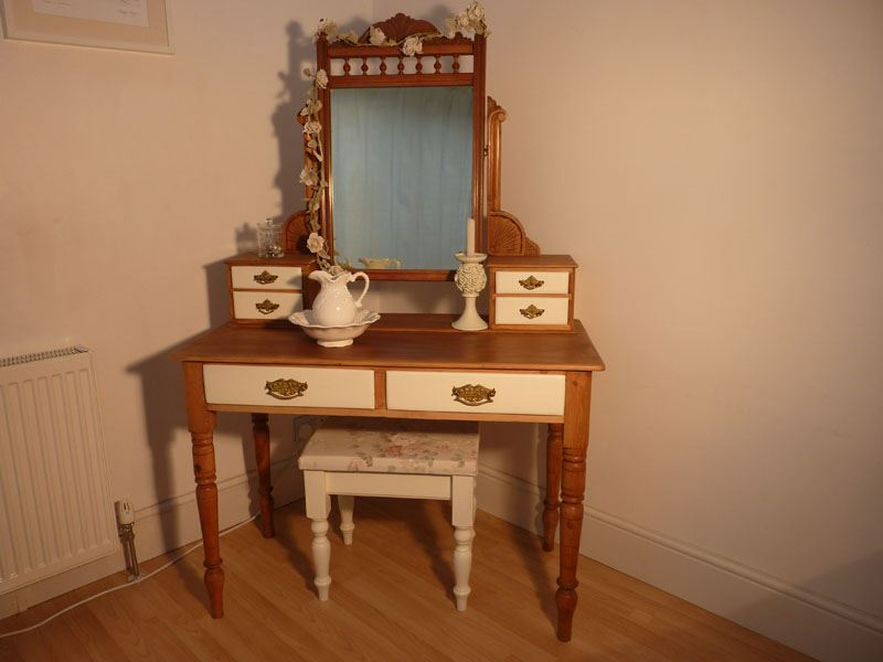 Antique pine dressing table with stool painted vintage