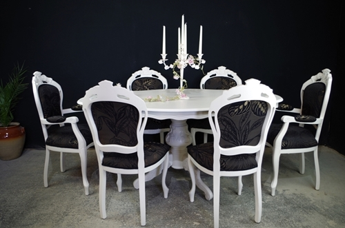 French Style Dining Table With 6 Louis Chairs Painted Vintage Antique