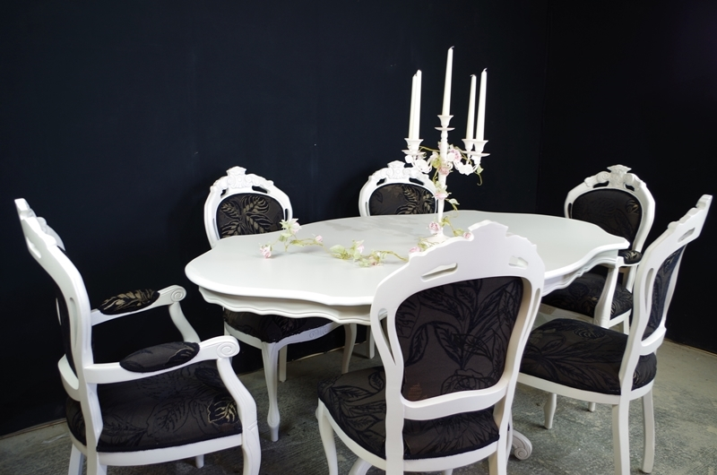 French Style Dining Table with 6 Louis Chairs Painted  : 0011950french style dining table with 6 louis chairs from www.thefettlingfairies.com size 800 x 530 jpeg 243kB