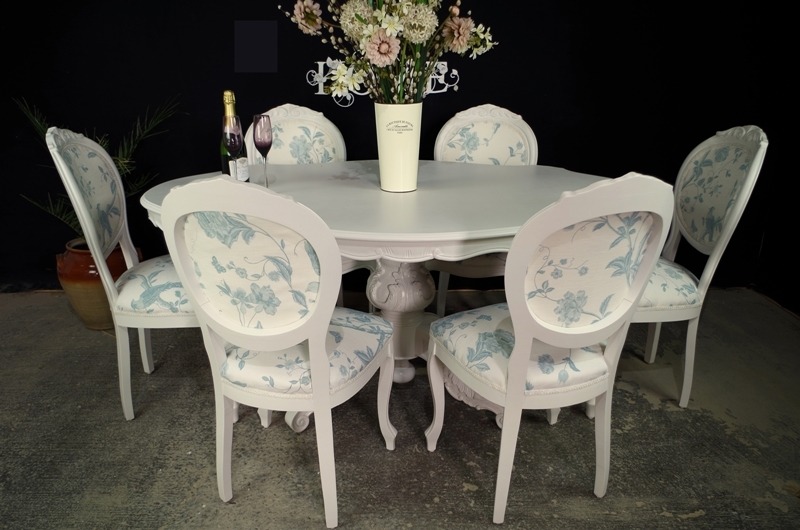 French style dining table with 6 laura ashley upholstered for French farmhouse dining chairs