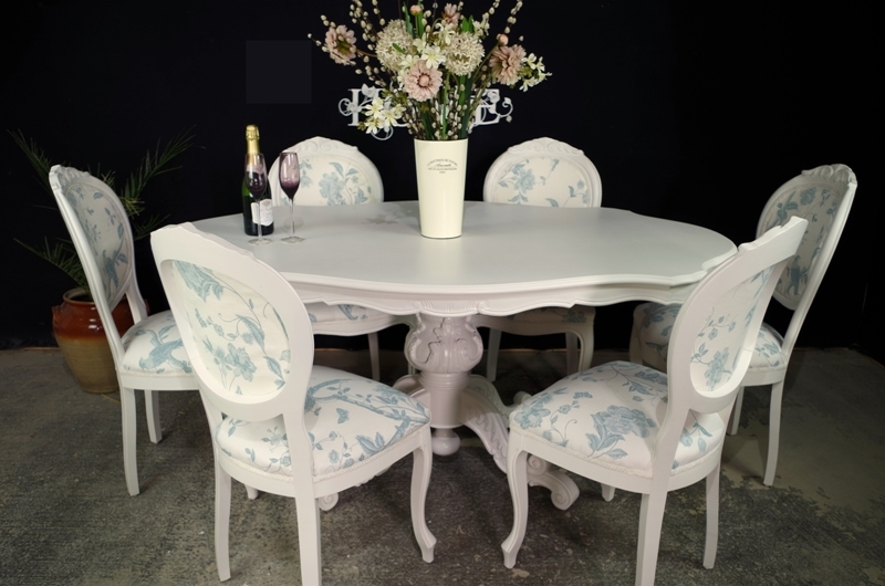 French Style Dining Table With 6 Laura Ashley Upholstered Chairs Painted Vint