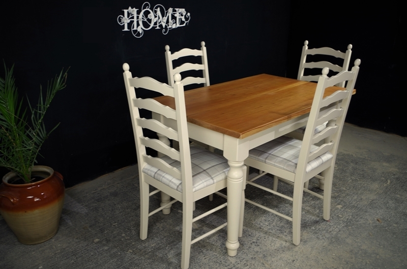Farmhouse Style Table  Ladderback Chairs Painted