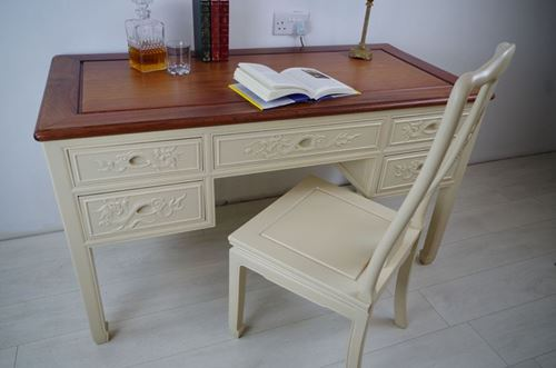 Picture of Carved Rosewood Desk and Chair