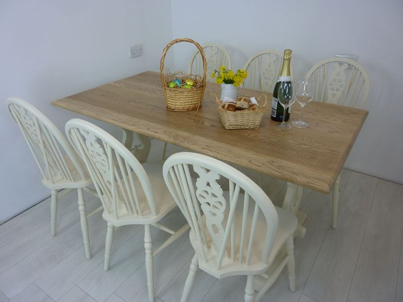 Picture of 5ft Solid Oak Bench Farmhouse Table and 6 Wheelback Chairs