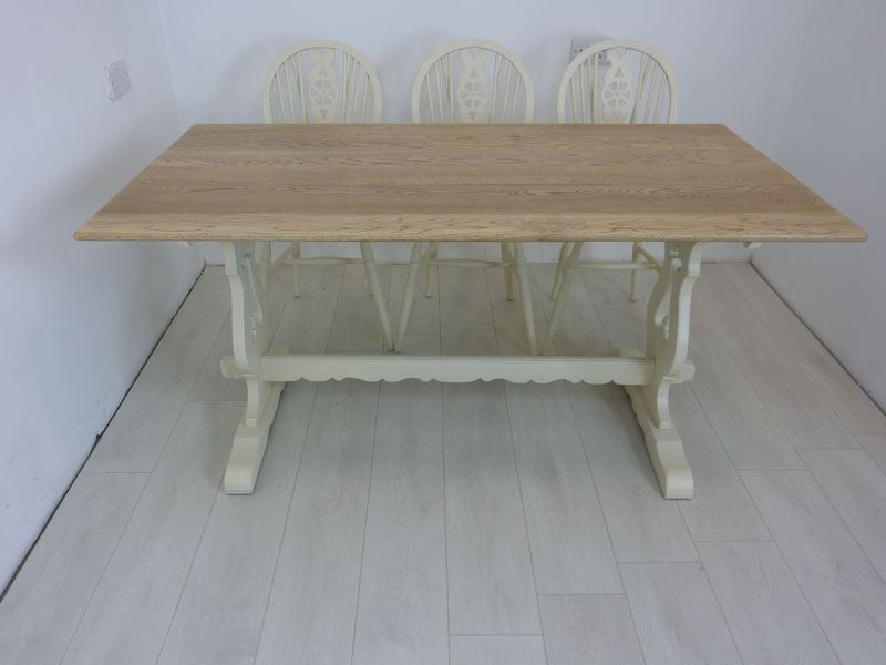 5ft solid oak bench farmhouse table and 6 wheelback chairs for 5ft coffee tables