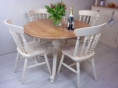 Picture of Pine Round Pedestal Table and 4 Farmhouse Chairs