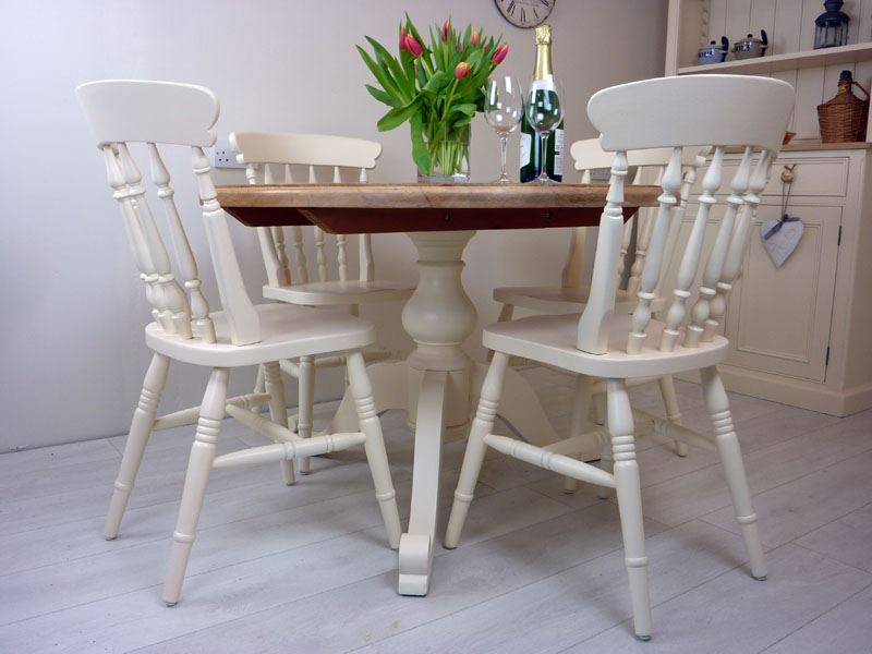 Pine Round Pedestal Table And 4 Farmhouse Chairs Painted