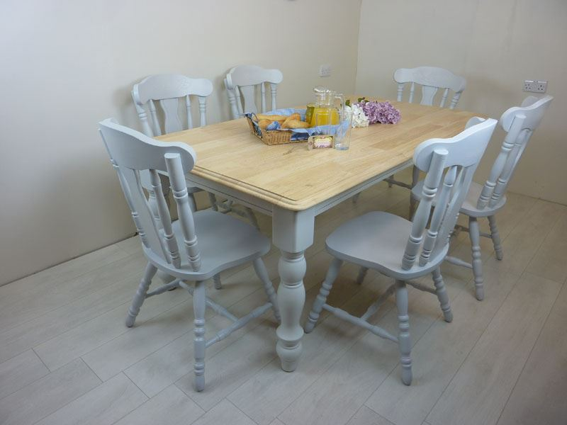 6ft Solid Wood Farmhouse Table and 6 Chairs. 6ft Solid Wood Farmhouse Table and 6 Chairs Painted Vintage