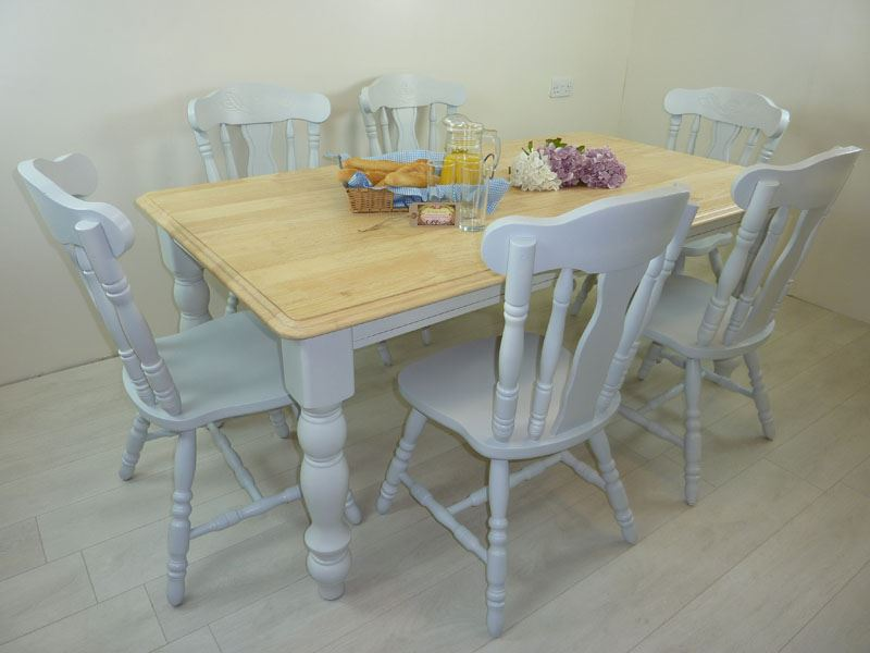 6ft solid wood farmhouse table and 6 chairs painted for Solid wood farmhouse table