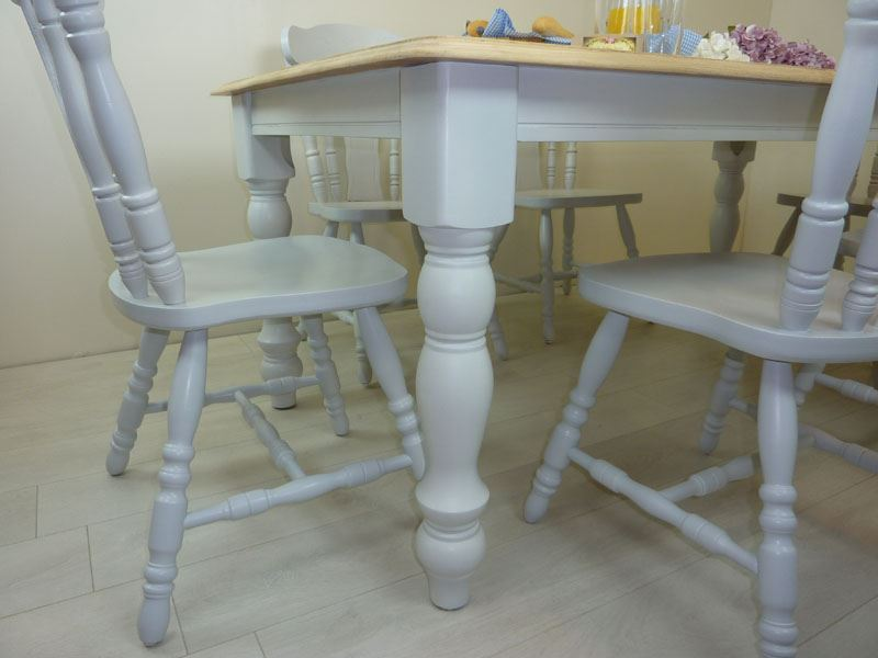 Ordinaire Picture Of 6ft Solid Wood Farmhouse Table And 6 Chairs