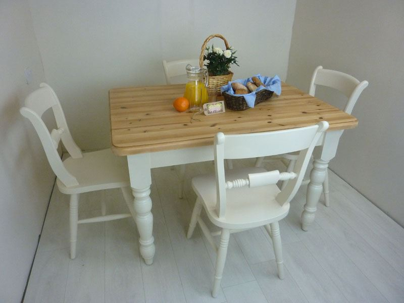 Picture of Pine Farmhouse Table and 4 Oxford Bar Back Chairs