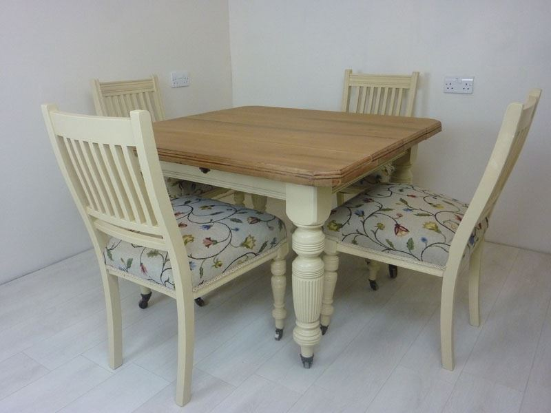 Victorian Wind Out Dining Table And 6 Antique Chairs Painted Vintage Antique Farmhouse Furniture