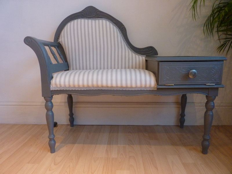 Vintage Seat With Small Side Table Attached Painted