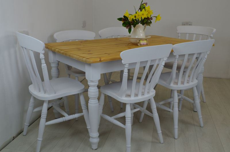 Pine Table And 6 Beech Chairs Painted Vintage Antique
