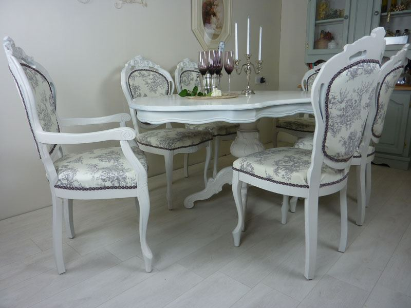 Picture of French Style Table With 6 Upholstered Chairs - French Style Table With 6 Upholstered Chairs-Painted Vintage