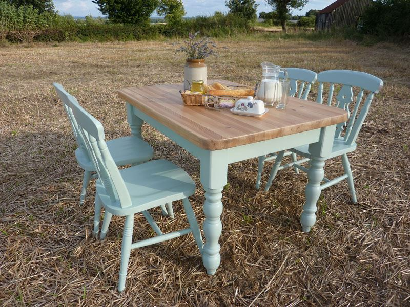 Pine Farmhouse Table and 4 Fiddleback Chairs-Painted ...