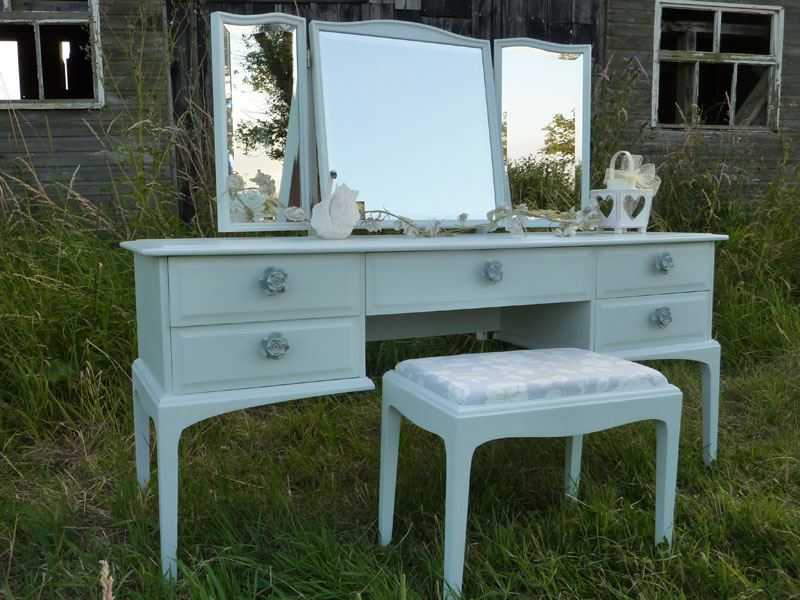 Stag Dressing Table And Stool Painted Vintage Antique