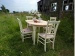 Picture of Oval Pine Farmhouse Table and 4 Chairs