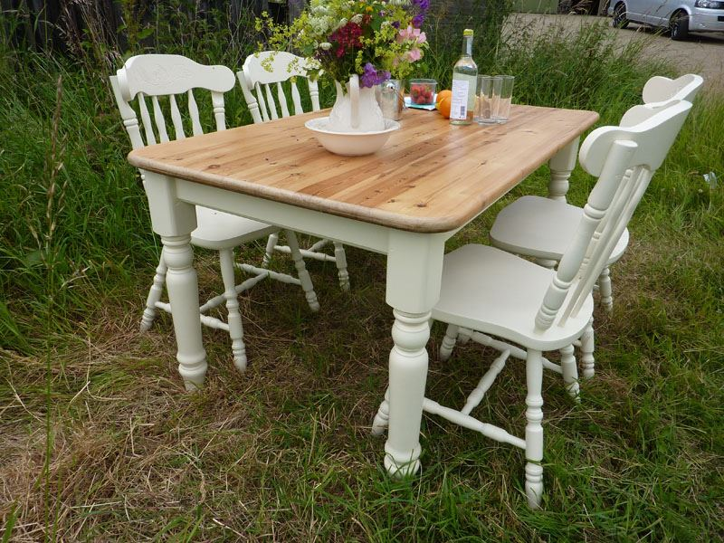 Picture of Antique Pine Farmhouse Table and 4 Chairs - Antique Pine Farmhouse Table And 4 Chairs-Painted Vintage, Antique