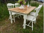 Picture of Antique Pine Farmhouse Table and 4 Chairs