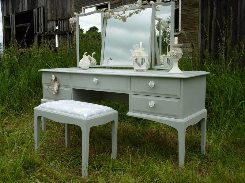 Painted Dressing Table ~ Stag dressing table and stool lady of the lake painted