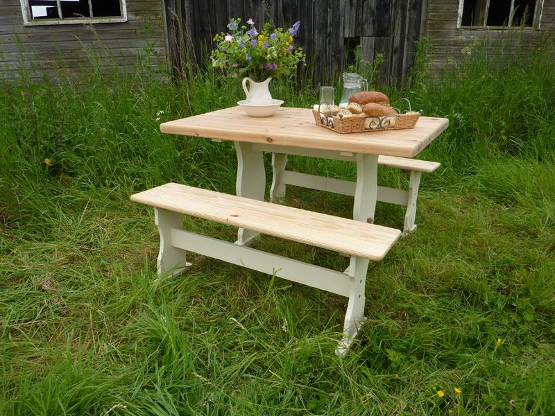 Sensational Farmhouse Pine Table With Benches Painted Vintage Antique Gmtry Best Dining Table And Chair Ideas Images Gmtryco