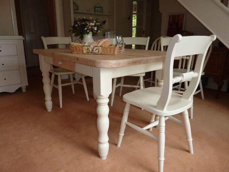 Pine Block Farmhouse Table And 6 Chairs Painted Vintage