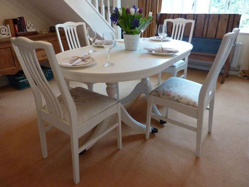 Extendable Dining Table with 4 Chairs Painted Vintage Antique & Farmhous