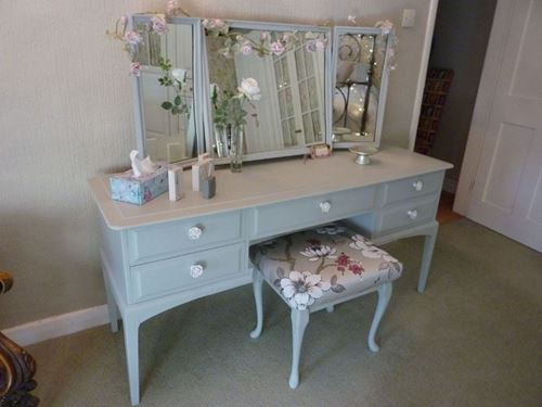 Stag Dressing Table With Stool Painted Vintage Antique