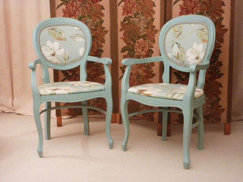 Victorian Style Balloon Backed Carver Chairs Painted Vintage
