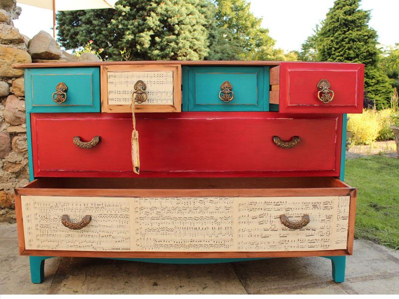 stag 39 industrial shabby chic 39 6 drawer chest painted vintage antique farmhouse furniture. Black Bedroom Furniture Sets. Home Design Ideas