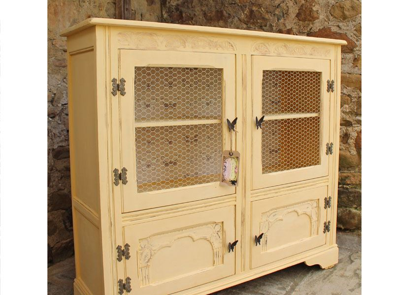 Shabby Chic Vintage Display Cabinet Bookcase Painted