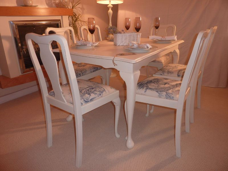 Shabby Chic Extendable Dining Table With 6 Chairs Painted Vintage