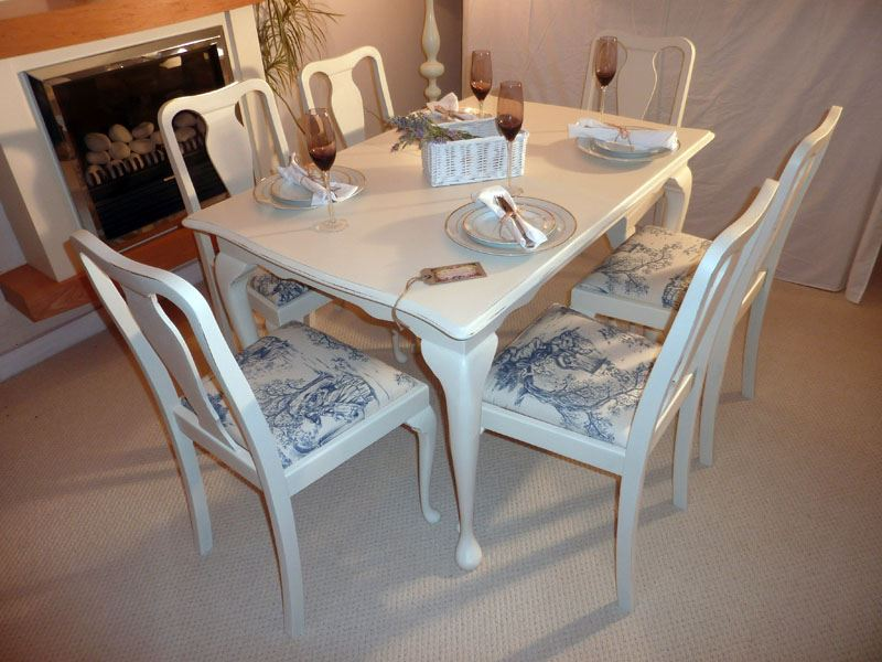 Shabby chic extendable dining table with 6 chairs painted vintage antique farmhouse furniture - Shabby chic dining table sets ...