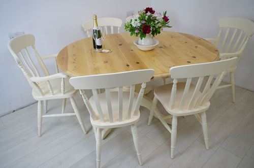 Picture of Extended Oval Pine Pedestal Table and 6 Beech Chairs