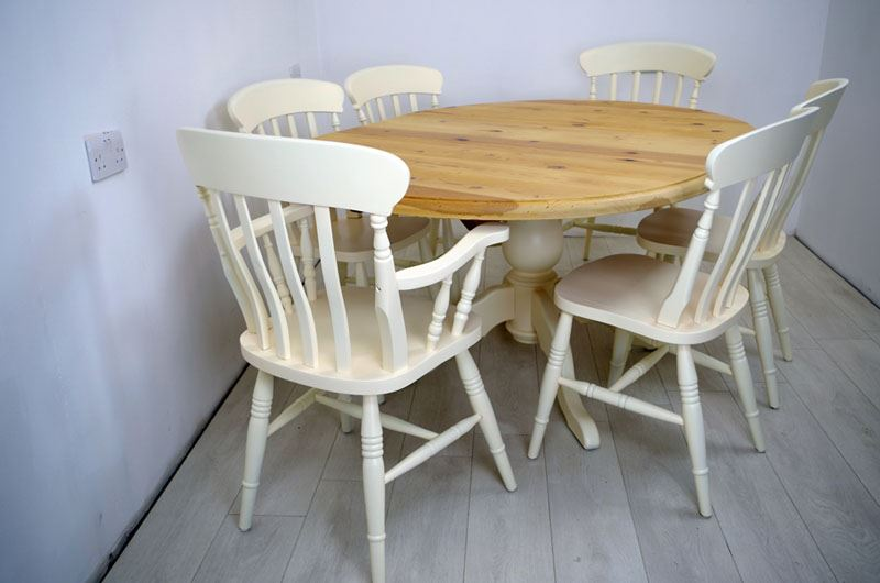 Extended Oval Pine Pedestal Table And 6 Beech Chairs Painted Vintage Antique Amp Farmhouse Furniture