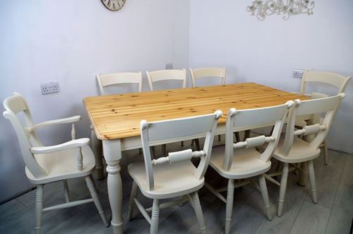 Picture of Pine 6ft Farmhouse Table and 8 Beech Oxford Bar Back Chairs