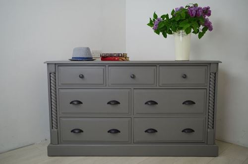 Picture of Wide 7 drawer Pine Chest.