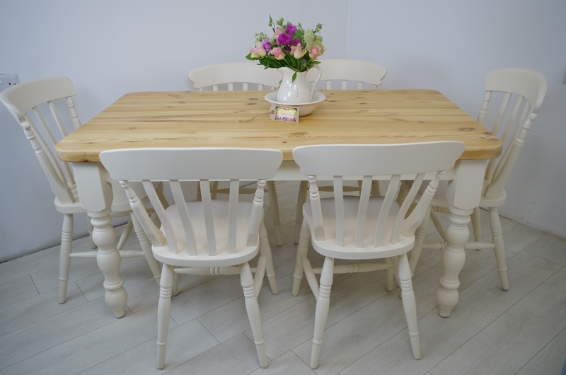 Pine Farmhouse Table and  Beech Slat Back Chairs-Painted Vintage