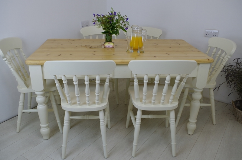 Miraculous Pine Farmhouse Table With 2 Drawers And 6 Beech Spindle Back Gamerscity Chair Design For Home Gamerscityorg