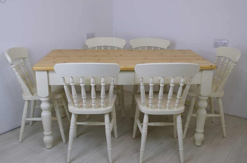 Picture Of Pine Farmhouse Table With 2 Drawers And 6 Beech Spindle Back  Chairs