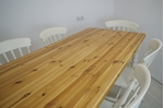 Picture of Six foot long Pine Farmhouse Table with 6 Beech Slat Back Chairs