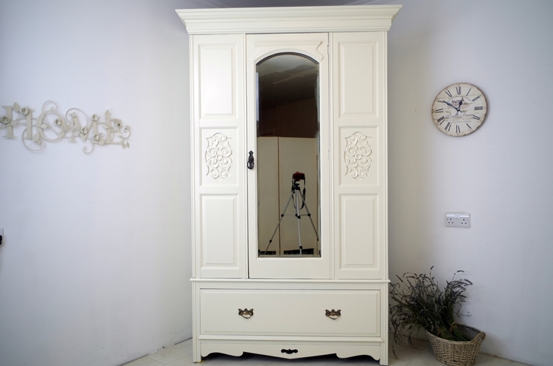 Antique Wardrobe With Mirrored Door Painted Vintage