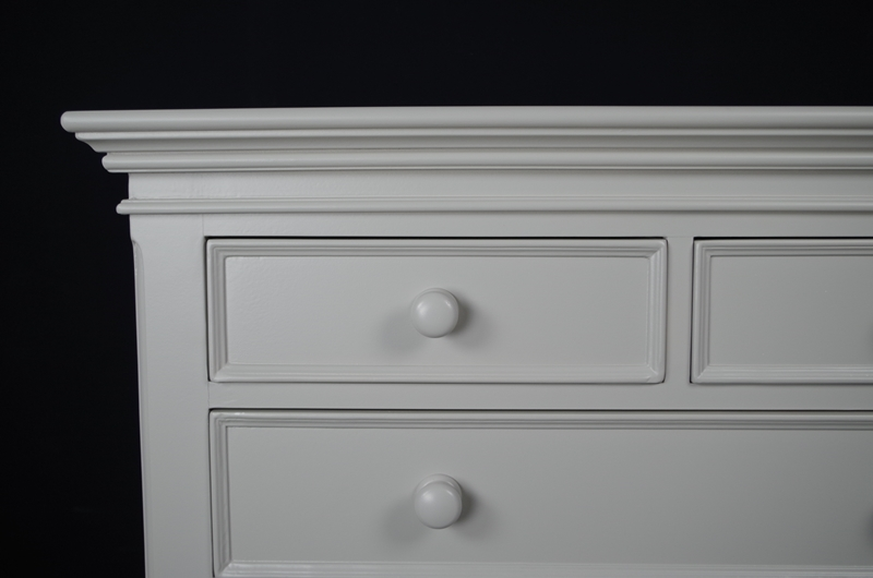 French Country 5 Drawer Chest Painted Vintage Antique