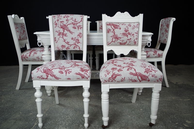Antique French And Victorian Dining Chair Set Painted