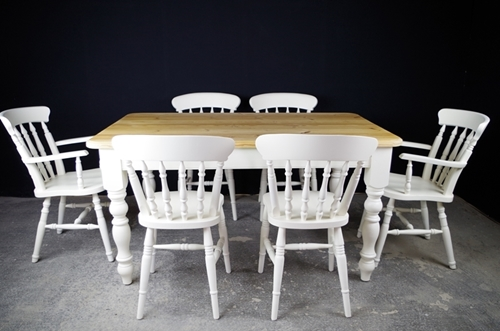 Picture of 5ft Pine Farmhouse Table + 6 Beech Spindle back chairs