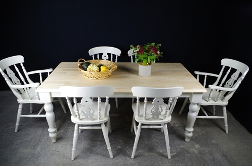 Picture of 6 foot Farmhouse Table and 6 Fiddleback Chairs