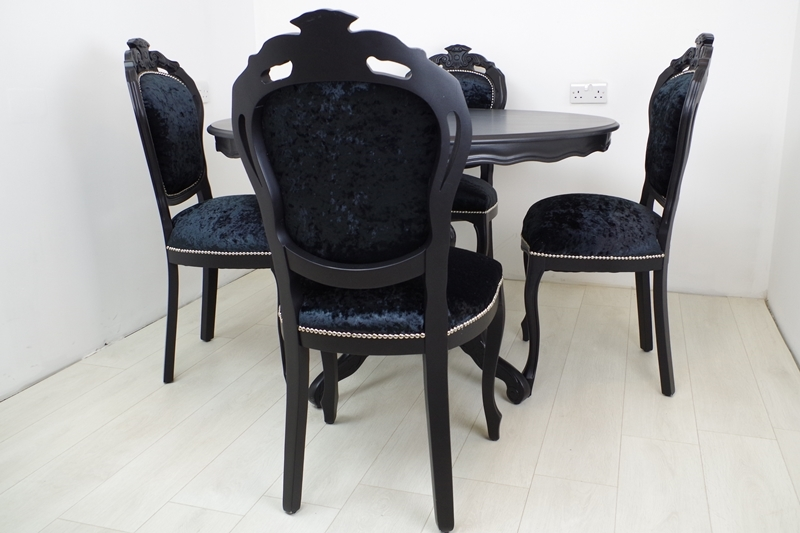 Picture Of Louis French Style Round Pedestal Table + 4 Chairs In Black